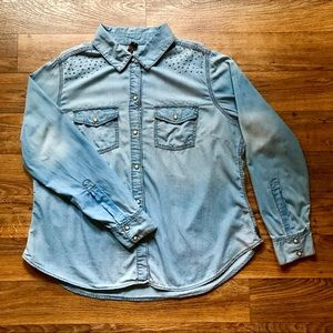 Denim Snap Front Shirt Silver Rhinestones by Seven